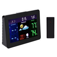 TS-70 LCD Digital Weather Station Professional Black Thermometer Hygrometer Wireless Alarm Clock with 1 Transmitter