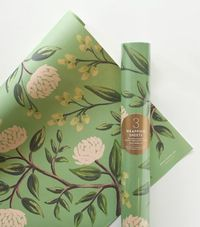 Emerald Peonies Wrapping Sheets. rifle paper