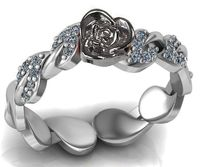 Bella Ring Love Ring White Gold Flower Ring Promise Ring Unique Engagement Ring with Side Diamonds Floral ring Birthday Gift For Her $731.00