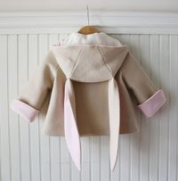 Luxe Bunny Coat (back) - $152 How cute is this!? Made from amazing 100% Wool European felt and lined in 100% Organic Cotton Sherpa. This makes it extra warm and cozy!