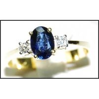 18K Yellow Gold Oval Blue Sapphire Solitaire Diamond Ring [RS0002]
