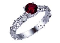 Filigree Ruby Solitaire Ring, Leaves Ring, 24 accent diamonds on the sides, July Birthstone $840.00