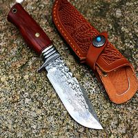 Hunting Knife Fixed Blade Tactical Outdoor Camping BBQ Tools Leather Scabbard $135.90