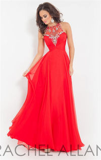 Beaded High Neck Rachel Allan 2858 Long Prom Dresses Sale