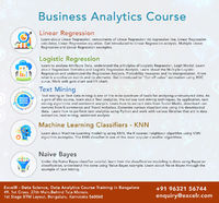 ExcelR offers business analytics certification course in Bangalore, the most comprehensive Data Science course in the market. ExcelR is considered as the best business analytics certification training institute in Bangalore which offers services from trai...