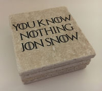 You Know Nothing Jon Snow Game Of Thrones Natural Travertine Tile Tumbled Stone Table Coasters Set of 4 with Full Cork Bottom $34.00