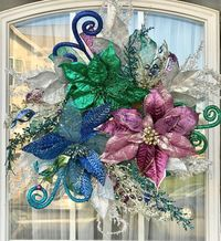 Peacock Wreath- Christmas Wreath- Holiday Wreath- Front Door Wreath- Floral Wreath- Xmas Wreath- Chicken wire Wreath- Pine Wreath $100.00