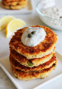 Crab Cakes with Lemon Caper Yogurt Sauce