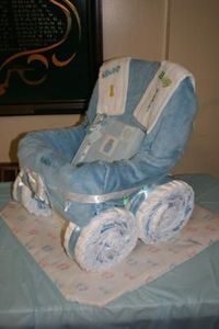 Such a Cute Baby boy diaper carriage.. Great baby shower gift