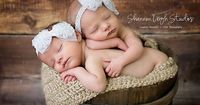 Newborn baby photography prop-2 white elastic lace bow headbands, baby shower gift, baby photo prop, crocheted halo or photography prop. $14.99, via Etsy.