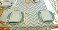 turquoise & gold wedding.....love the chevron runner