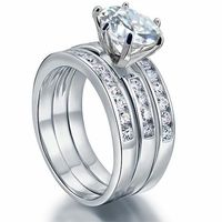 2 Ct Simulated Diamond 925 Sterling Silver Wedding Engagement Ring Set 3-Pcs $42.00