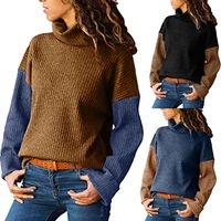 Only $15!!!! Women's Turtleneck Color Matching Long-Sleeved Slim Sweater Pullover Sweater $15.01