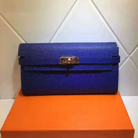 Hermes Kelly Wallet 20cm Epsom Leather Gold Hardware In Blue