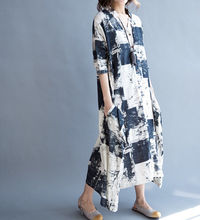 Cotton and linen Loose Fitting Long Maxi Dress oversize Loose long dress Women Robe Gown