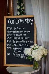 """""""Our Love Story"""" : Great idea to inform guests who have been out of touch for a while"""