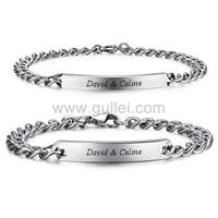 Gullei.com Personalized Names Engraved Couple Bracelets Set for 2
