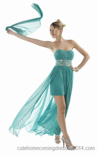 Kelly Green Pleated Daniella Couture 1083 Evening Gowns