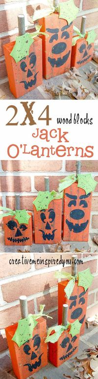 http://creativemeinspiredyou.com/meet-jack-and-jack-and-jack/ These Jack O'Lantern Pumpkins are the cutest porch decor!