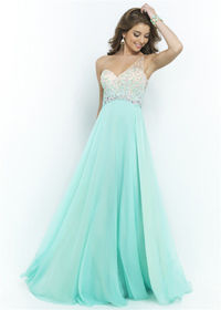Sea Glass Long Ombre Beads Embellished Top Blush 9965 Chiffon Dress