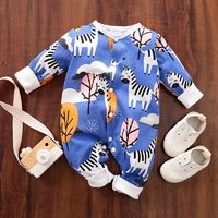 Baby Zebra Allover Long-sleeve Jumpsuit $15