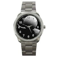 Golf ( Black and White image) on a Mens or Womens Silver Sports Watch $40.00