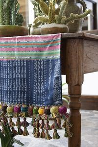 Runner with Tassels - Wood farmhouse table - Potted cactus