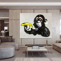 Pop Art Ape paintings On Canvas original art painting black monkey decor graffiti Wall Pictures abstract animals painting cuadros abstractos $69.00