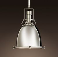 Benson Pendant from Restoration Hardware - Industrial style pendant lighting in 7, 13, or 16.5 inch diameters. Finish in Polished Nickel, Satin Nickel, or Dark Brass Natural. Perfect in the kitchen.