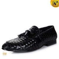 Cwmalls Black Leather Tassel Loafers for Men CW750067