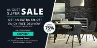 August Super Sale in UK | Furniture Direct UK  Get the advantage of August Super Sale. Save up to extra 5% off on branded furniture. Use Coupon Code: SUPER7.