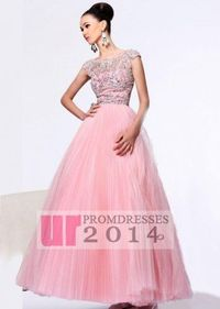 Fashion Beaded Cap Sleeves Tulle Pink Ball Gown
