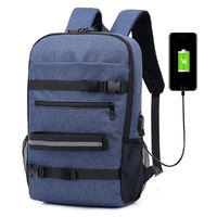 16inch Outdoor USB Skateboard Backpack Waterproof Anti Theft Laptop Bag School Bag Rucksack