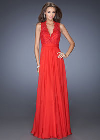 Red La Femme 20109 V Neck Open Back Chiffon Evening Gown