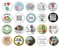 collection of knitting pinback buttons