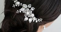 Bridal Hair Comb, Wedding Hair Piece with Swarovski Crystal flowers, Leaves and Vines, Pearl and Rhinestone Side Comb, HARLOW VINE.