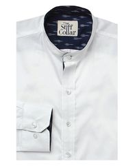 White Satin Ikkat Art Mandarin Collar Shirt �'�1899.00