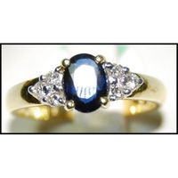 Diamond Blue Sapphire Genuine 18K Yellow Gold Solitaire Ring [RS0036]