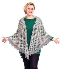 Gray elegant knitted shawl, as cute Christmas gift shrug for daughter in law, oversized crochet clothes for women plus size $62.00