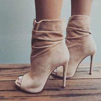 Nude Suede Open Toe Ankle Boots $120.00