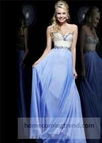 Beaded Periwinkle Strapless Long Prom Dresses