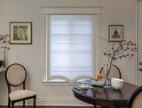 Custom Chevalle Range Grey Border Flat Roman Shade $97.00