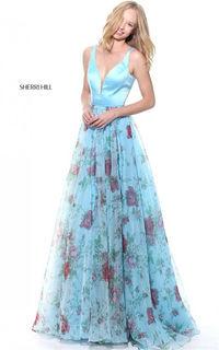 Plunged V-Neck Sherri Hill 51211 Floral Cutout Blue Print Long Dress 2017