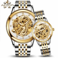 Luxury Men Women Watches Automatic Mechanical Lover's Wristwatch Stainless Steel Band Luminous Gold Skeleton Clock 2019 $239.98 zhif.myshopify.com
