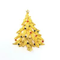 Vintage Gold Tone Christmas Tree with Multicolor Bulbs Brooch $22.00