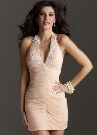 Peach V Neck Floral Appliques Ruched Short Fitted Homecoming Dress