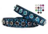 Turquoise Leather Dog Collars with Bling, Custom Bling Cat Collars, Unique Custom Collars, Swarovski Crystal Rhinestones $29.00