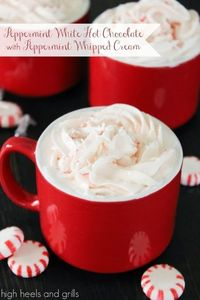 Peppermint White Hot Chocolate with Peppermint Whipped Cream
