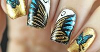 The Digit-al Dozen does Nature: Day 2 Butterfly Nail Stamping