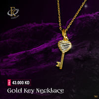 This gold key Necklace is a key to everyday style for you.  �–� Product type: Gold Key Necklace  �–� Price: 43.000KD �–� Weight: 2.020 Grams �–� Free Delivery �–� Karat: 18 Karat �–� Part Number: FKJNKL1515 �!...